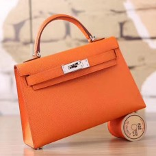 Hermes Orange Epsom Kelly Mini II 20cm Handmade Bag