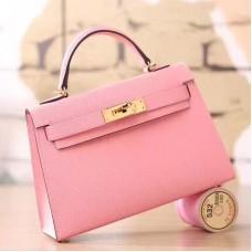 Hermes Pink Epsom Kelly Mini II 20cm Handmade Bag