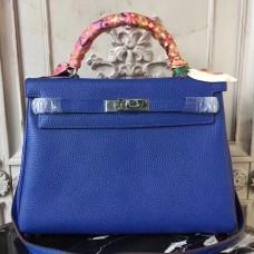Hermes Blue Electric Clemence Kelly 32cm Retourne Bag