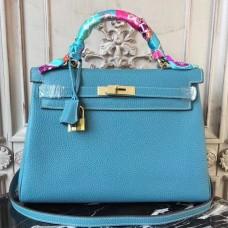 Hermes Blue Jean Clemence Kelly 32cm Retourne Bag