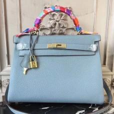 Hermes Blue Lin Clemence Kelly 32cm Retourne Bag