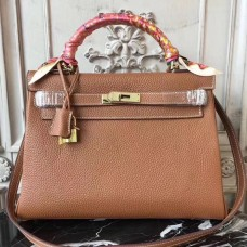 Hermes Brown Clemence Kelly 32cm Retourne Bag
