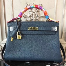 Hermes Navy Blue Clemence Kelly 32cm Retourne Bag