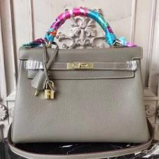 Hermes Grey Clemence Kelly 32cm Retourne Bag