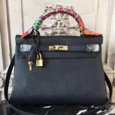 Hermes Black Clemence Kelly 32cm Retourne Bag