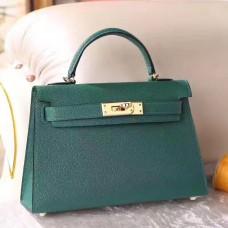 Hermes Malachite Chevre Kelly Mini II 20cm Handmade Bag