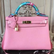 Hermes Pink Clemence Kelly 32cm Retourne Bag