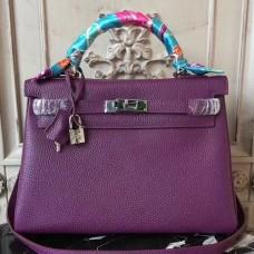 Hermes Purple Clemence Kelly 32cm Retourne Bag