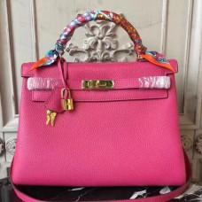 Hermes Rose Red Clemence Kelly 32cm Retourne Bag
