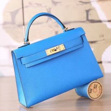 Hermes Blue Hydra Chevre Kelly Mini II 20cm Handmade Bag