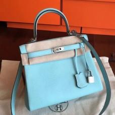 Hermes Blue Atoll Clemence Kelly 25cm Retourne Handmade Bag