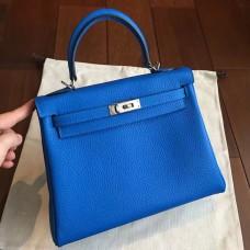 Hermes Blue Clemence Kelly 25cm Retourne Handmade Bag