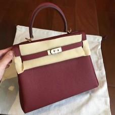 Hermes Bordeaux Clemence Kelly 25cm Retourne Handmade Bag