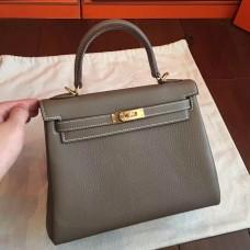 Hermes Etoupe Clemence Kelly 25cm Retourne Handmade Bag