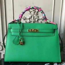 Hermes Bamboo Epsom Kelly 32cm Sellier Bag