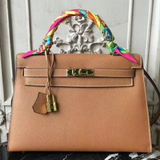 Hermes Brown Epsom Kelly 32cm Sellier Bag