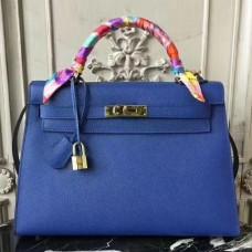 Hermes Blue Electric Epsom Kelly 32cm Sellier Bag