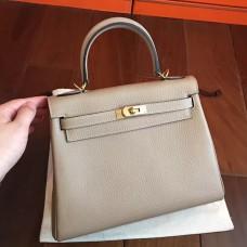 Hermes Grey Clemence Kelly 25cm Retourne Handmade Bag