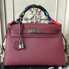 Hermes Bordeaux Epsom Kelly 32cm Sellier Bag