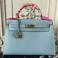 Hermes Light Blue Epsom Kelly 32cm Sellier Bag