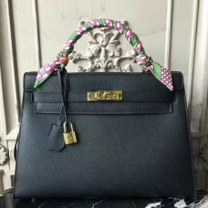 Hermes Black Epsom Kelly 32cm Sellier Bag