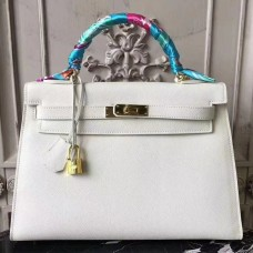 Hermes White Epsom Kelly 32cm Sellier Bag