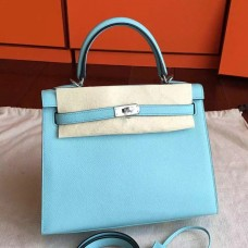Hermes Blue Atoll Epsom Kelly 25cm Sellier Handmade Bag
