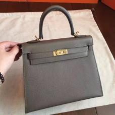 Hermes Etoupe Epsom Kelly 25cm Sellier Handmade Bag