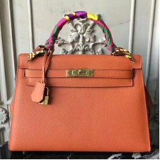 Hermes Orange Epsom Kelly 32cm Sellier Bag