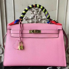 Hermes Pink Epsom Kelly 32cm Sellier Bag