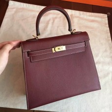 Hermes Bordeaux Epsom Kelly 25cm Sellier Handmade Bag