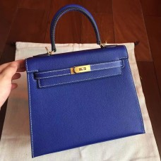 Hermes Electric Blue Epsom Kelly 25cm Sellier Handmade Bag