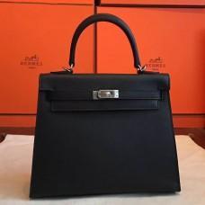 Hermes Black Epsom Kelly 25cm Sellier Handmade Bag