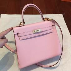 Hermes Pink Epsom Kelly 25cm Sellier Handmade Bag