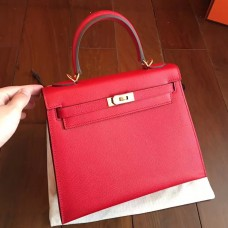 Hermes Red Epsom Kelly 25cm Sellier Handmade Bag