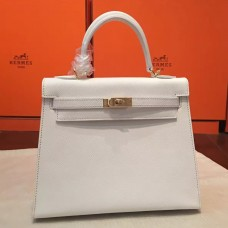 Hermes White Epsom Kelly 25cm Sellier Handmade Bag