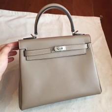 Hermes Grey Swift Kelly 25cm Retourne Handmade Bag