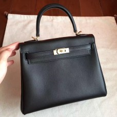 Hermes Black Swift Kelly 25cm Retourne Handmade Bag