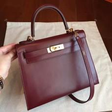 Hermes Bordeaux Box Kelly Retourne 28cm Handmade Bag