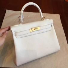 Hermes White Clemence Kelly Retourne 28cm Handmade Bag