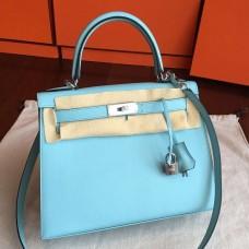 Hermes Blue Atoll Epsom Kelly Sellier 28cm Handmade Bag