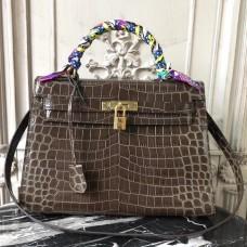 Hermes Kelly 32cm Bag In Chocolate Crocodile Leather