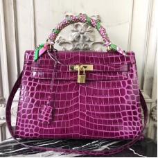 Hermes Kelly 32cm Bag In Fuchsia Crocodile Leather