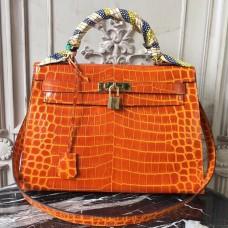 Hermes Kelly 32cm Bag In Orange Crocodile Leather