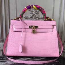 Hermes Kelly 32cm Bag In Pink Crocodile Leather