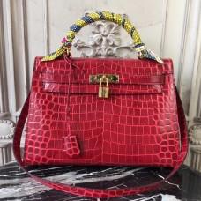 Hermes Kelly 32cm Bag In Dark Red Crocodile Leather
