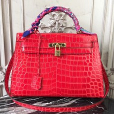 Hermes Kelly 32cm Bag In Red Crocodile Leather