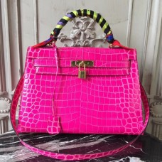 Hermes Kelly 32cm Bag In Rose Red Crocodile Leather