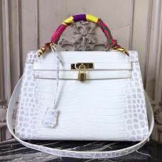 Hermes Kelly 32cm Bag In White Crocodile Leather