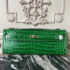 Hermes Bambou Crocodile Kelly Cut Clutch Bag